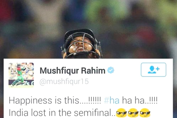 """Happiness is this...!!! India lost in the semifinal"" - Mushfiqur Rahim"